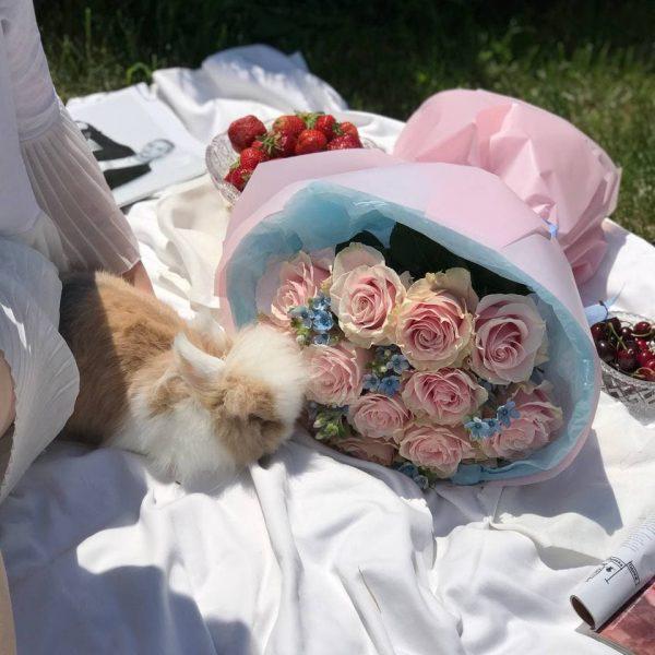 Букет з 13 еквадорських троянд та оксепеталума