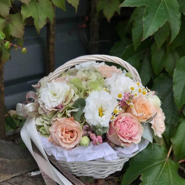 Кошик з троянд, еустоми, гвоздик та додатків