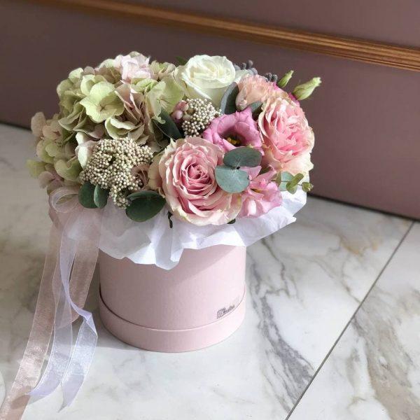 Композиція в коробці з гортензії, троянд, еустоми, евкаліпту та додатків